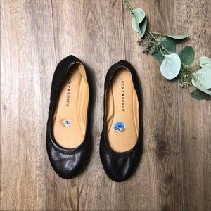 Lucky Brand Black Leather Emmie Flats